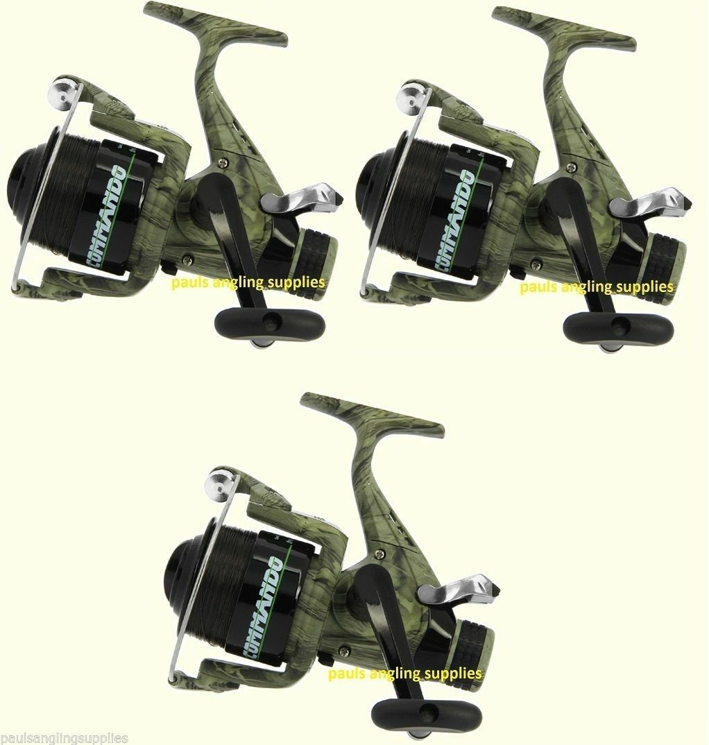3 x  Camo Size 60 Carp Runner Fishing Reel With Line & Spare Spool