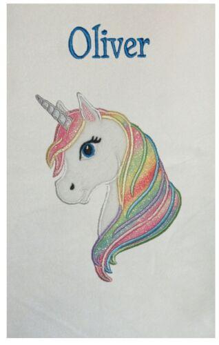 Rainbow Unicorn Personalised Applique Super Soft Fleece Blanket