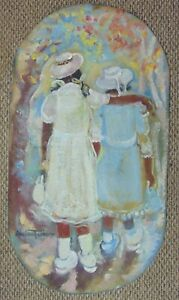 ANDREW-TURNER-Acrylic-Painting-on-Area-Rug-Girls-Sisters-Sunday-School-Church