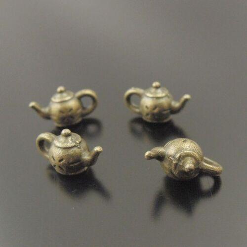 Antiqued Bronze Vintage Alloy Cute Tea Pot Pendant Charms Finding 100PCS