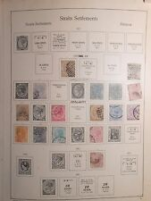 Page Straits Settlements 10c on 30c 1880 postage stamp, & others