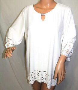 06deb36fe67 Southern Lady Women Plus Size 1x 2x 3x Egret Cut Out Tunic Top ...