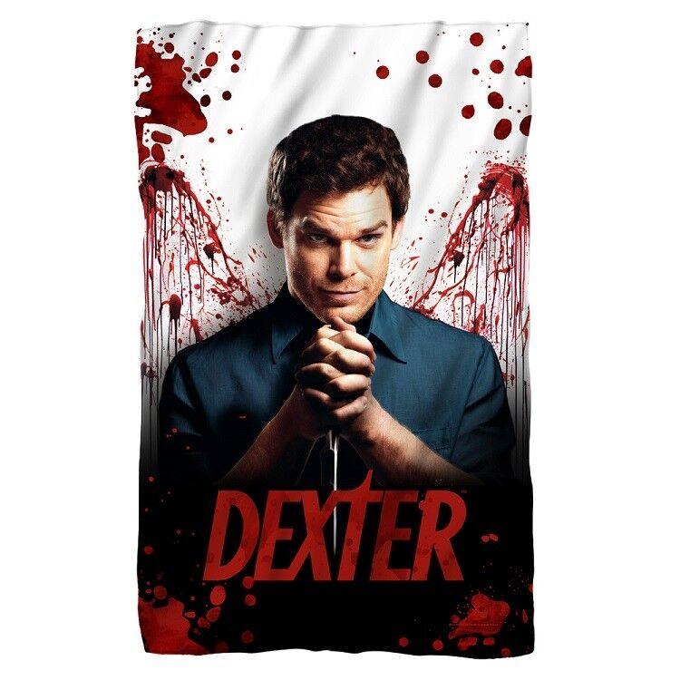 New Dexter Fleece Throw Gift Blanket TV Series Show Morgan Blood Bloody Splatter