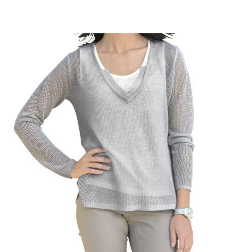 Alba Moda Damen Pullover 2-in-1 silber//offwhite NEU!! KP 89,95 € SALE/%/%/%