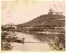 Italia, Torino. Riva del Po e Monte dei Cappuccini  Vintage albumen print. Italy