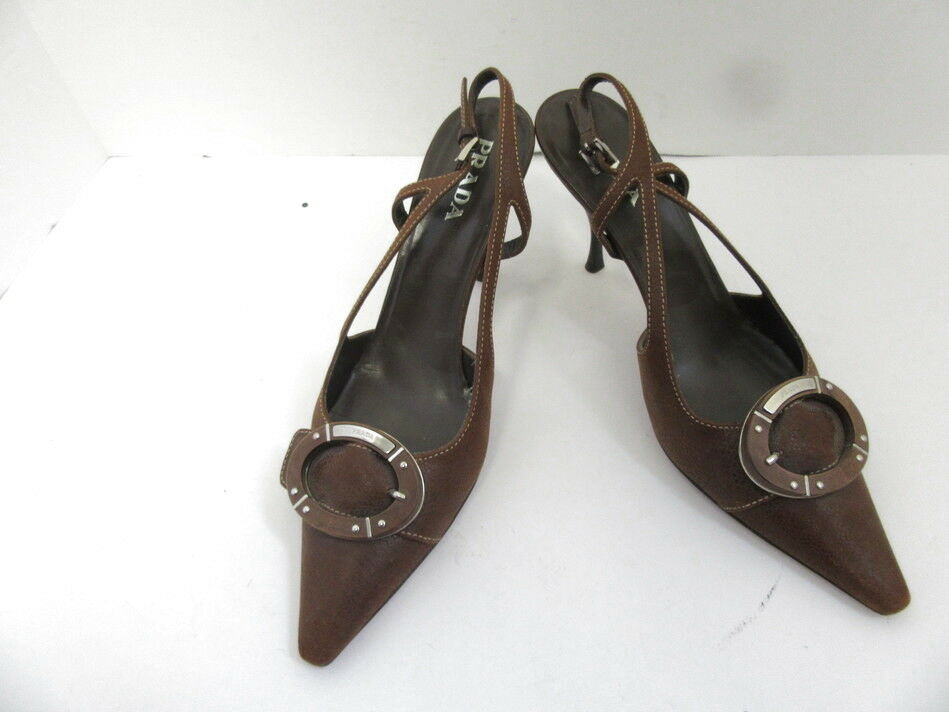 PRADA BROWN LEATHER POINTED TOE SZ SLINGBACKS W/ BUCKLE SZ TOE 37.5 b9a644