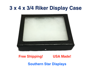 3 x 4 x 3//4 Riker Display Case Box for Collectibles Jewelry Arrowheads /& More