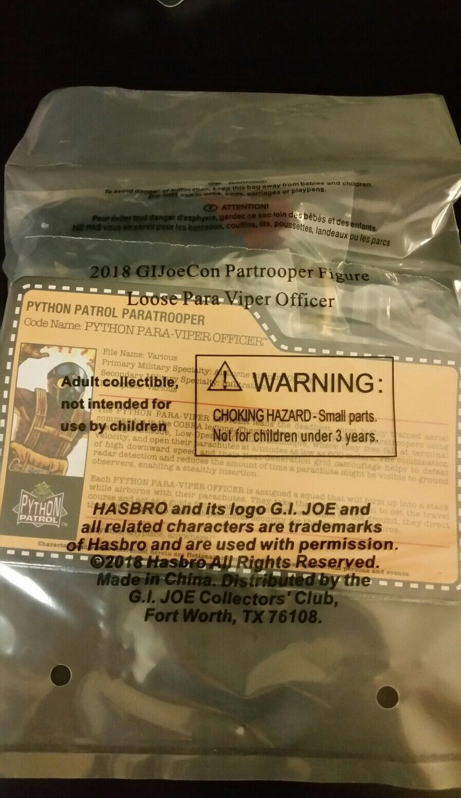 PYTHON PARA VIPER OFFICER PARATROOPER Gi joe convention 2018 exclusive MISB