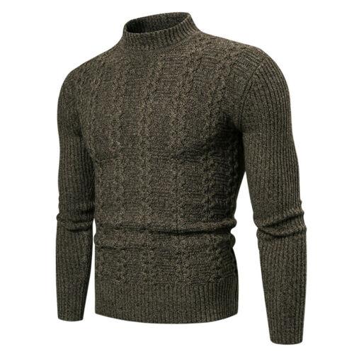 Herren Sweater Strickjacke Strickpullover Rollkragen Sweat Shirt Pullover Tops