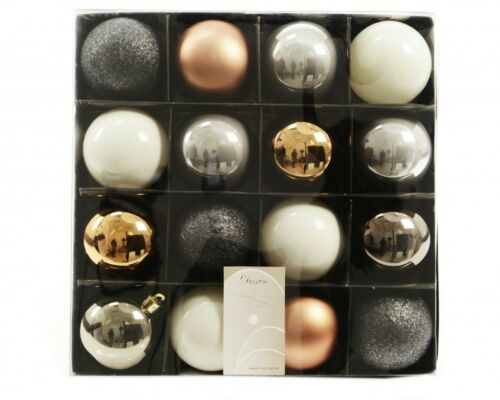 16x plastique boules de Noël 6cm or//rouge//coloré//blanc Boules de Noël