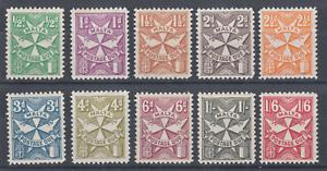 Malta Sc J11-J20 MLH. 1925 Postage Dues watermarked sideways, cplt set