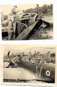 2x-Foto-abgeschossenes-englisches-oder-franzoesisches-Flugzeug-A422