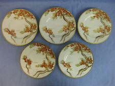 5 Antique / Vintage Japanese Fine Porcelain Plates ~ Hand Painted ~ Maple / Gilt