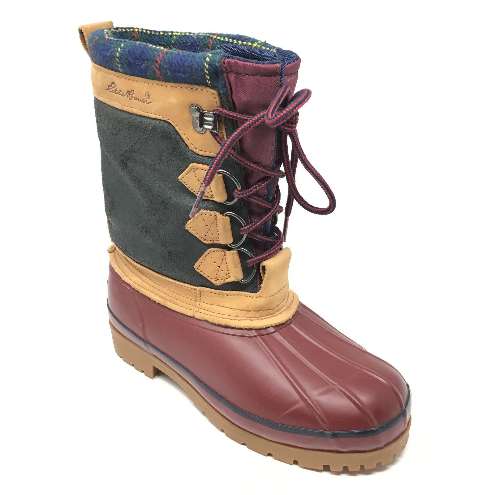 Women's Eddie Bauer Waterproof Winter Boots shoes Size 7M Red Brown Faux Fur Y9
