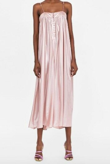 Zara LAMÉ-EFFECT SALMON PINK JUMPSUIT Size XS SOLD OUT EVERYWHERE