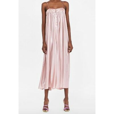 Zara LAMé-EFFECT SALMON PINK JUMPSUIT Size XS SOLD OUT EVERYWHERE!