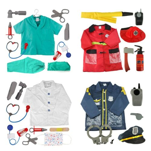 4x Lot TopTie Kid Role Play Career Costume Set Doctor Surgeon Police Firefighter