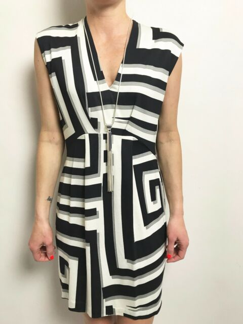 DIANE VON FURSTENBERG BLACK GREY OFF WHITE STRIPE SLEEVELESS DRESS SZ 6US AUS 10