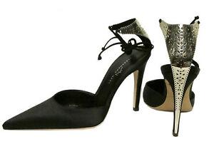 690-ALEXANDRA-NEEL-Carmen-Plaza-Silver-Metal-Filigree-Black-Satin-Pumps-Shoes