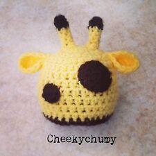 Cute handmade crochet giraffe beanie hat. Photo photography prop. Newborn.