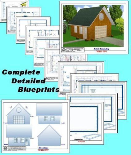 Material List Blueprints 20x20 Garage w//Loft Plans Package