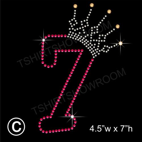 cadeau gratuit Anniversaire numéro 7 strass Transfert strass Hotfix Iron sur motif
