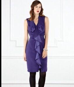 """Bnwt """"coast"""" Taille 18 Hudson Violet Soirée, Parti Robe De Mariage (46 Eu) Volants-afficher Le Titre D'origine RéTréCissable"""