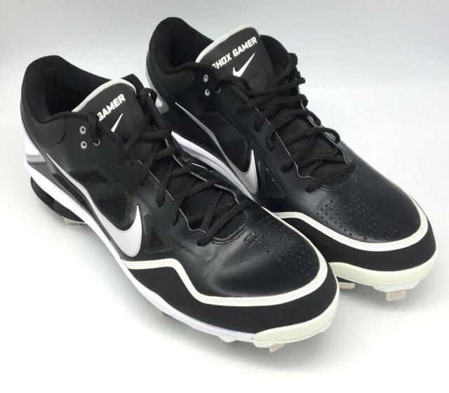 the best attitude 30ca5 b803e NEW Nike Shox Gamer Baseball Metal Cleats Shoes Black White Big Tall Size 15
