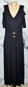LIZ-LANGE-Black-Stretch-Jersey-Cold-Shoulder-Short-Sleeve-Dress-XL-Buckle-Accent