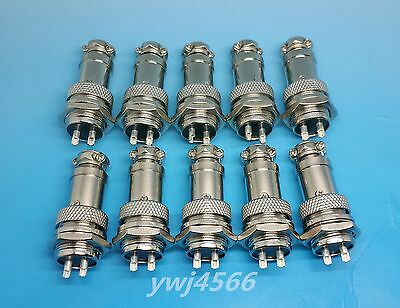 10PCS Aviation Plug GX16-2 Male Female and Panel Metal Connector 16mm 2-pin