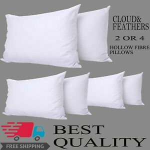 Luxury-Poly-cotton-Hollow-fiber-Non-Allergenic-Bounce-Back-Pillows-Pack-of-2-amp-4