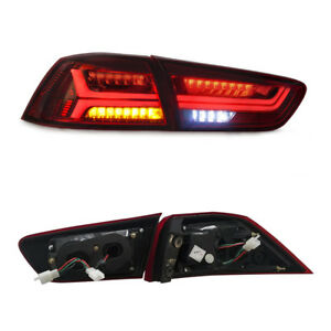 2008-2018 Fit For Mitsubishi Lancer EVO X LED Red Lens Brake Tail Light Pair Set