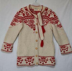 Vtg Moussie Susan Bristol Shetland Wool Knit Sweater Cardigan Built In Scarf
