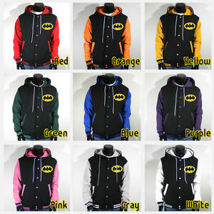 Mens New BATMAN Varsity Hoodie Baseball Jacket S M L XL 2XL 3XL ...