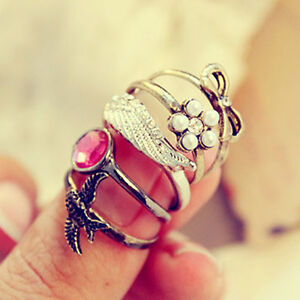 Vintage-Retro-Style-Rhinestone-Wings-Flower-Swallow-Bowknot-5pcs-Ring-Set-Rings