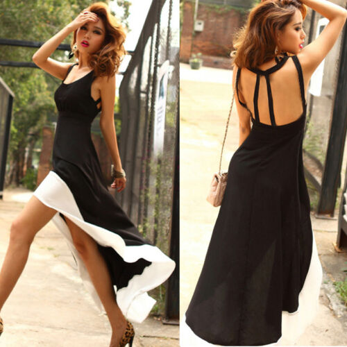 Women's Sexy Bodycon Ladies Asymmetrical Pencil Party Evening Backless Dress New