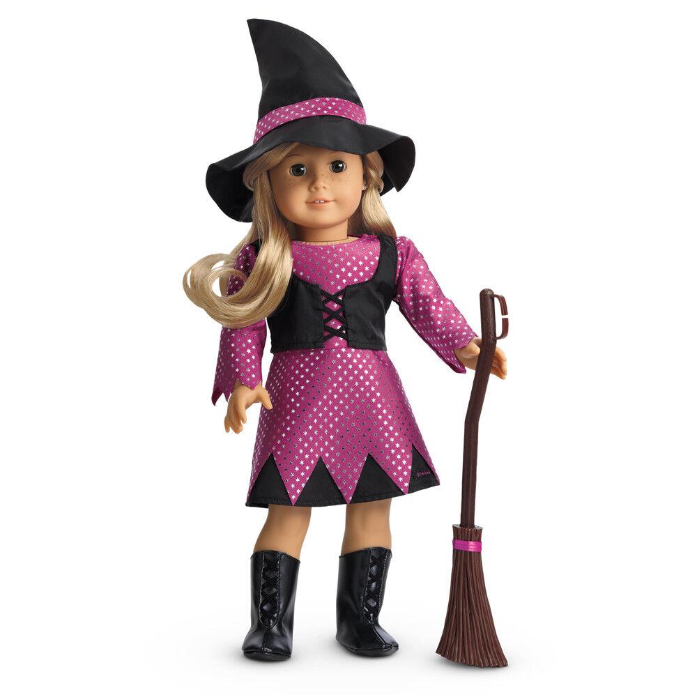 American Girl Puppe Kleidung Hexe Kostüm Outfit Hut Besen Stiefel Kleid