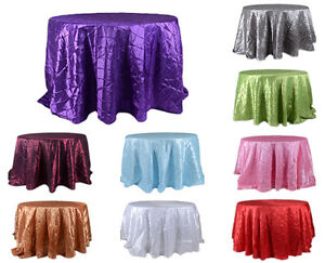 """TulleShop 132"""" Inch Round Pintuck Satin Tablecloths Table Cover Wedding Party"""