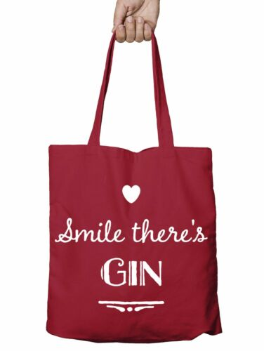 Smile Theres Gin and Tonic Shopper Tote Bag Reusable Gift Shopping Christmas T3