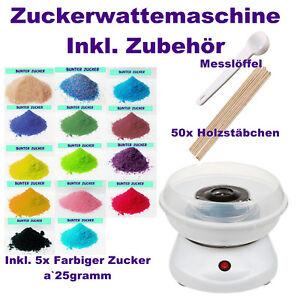 Zuckerwattemaschine-Inkl-Zubehoer-Holzstaebchen-5x-Zucker-Bunt-Party-Geburtstag