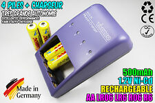 CHARGEUR VIVANCO CHARGER + 4 PILES ACCUS RECHARGEABLE NI-CD 1.2V AA 500MAH LR06