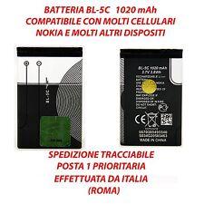 BATTERIA BL-5C 1020 mAh x NOKIA N70 1100 N91 1110 E60 1200 6600 e molti altri