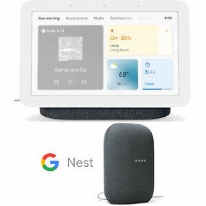 Google Nest Hub Smart Display, Charcoal (2nd Gen) with Nest Speaker Bundle