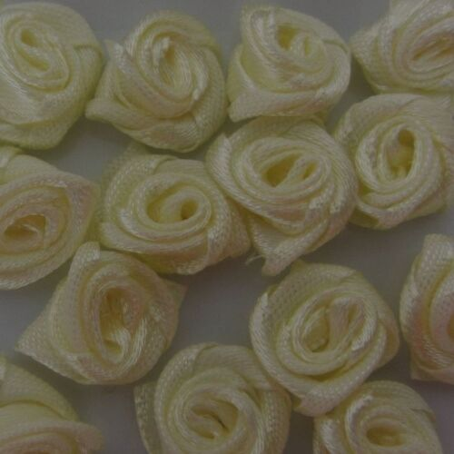 100//144 Mini Satin Ribbon Rose Flower Wedding Sewing Trim Bow Craft Favors COLOR