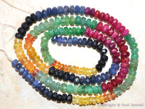 """#1 Natural SAPPHIRE RUBY EMERALD 3.5-4.5mm Faceted Rondelle Beads 17""""str 76 Ct"""