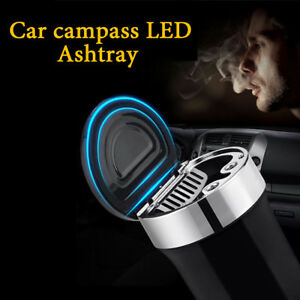Black-Elegant-style-Metal-Ashtray-smoke-Holder-with-compass-and-LED-light-fr-Car