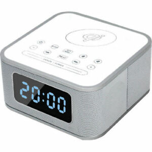 Details about iStyle Digital Alarm Clock Bluetooth Speaker+Qi Wireless  Charging Station White