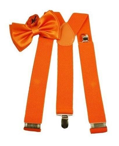 Orange Baby Toddler Kids Boys Girls Y-Back Elastic Suspenders Bowtie Set