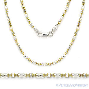 2-Tone-925-Sterling-Silver-14k-Yellow-Gold-2-3mm-Bead-Link-Chain-Necklace-Italy