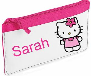 Personalised Hello Kitty With Flower Pencil Case.  Choice of colours
